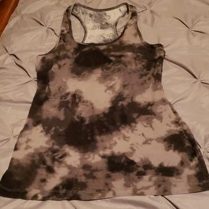 tie dyed grey with black tank top ..stretchy
